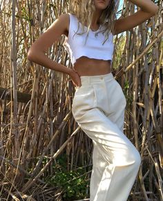 a1e59535323 Casual chic high waisted cream pants with cute little white crop top