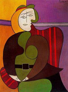 Pablo Picasso (Spanish, The Red Armchair (Femme assise dans un fauteuil rouge), 1931 Kunst Picasso, Art Picasso, Picasso Paintings, Picasso Style, Portraits Cubistes, Cubist Portraits, Portrait Art, Georges Braque, Spanish Painters