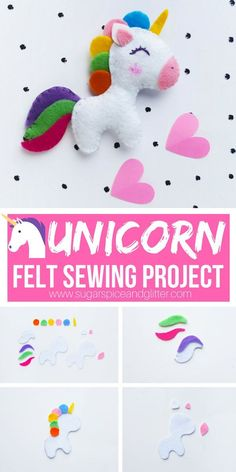 An easy felt sewing project for beginners, this unicorn stuffed animal is a cute. - Haycie - An easy felt sewing project for beginners, this unicorn stuffed animal is a cute DIY sewing project - Diy Unicorn, Unicorn Crafts, Magical Unicorn, Unicorn Kids, Rainbow Unicorn, Unicorn Stuffed Animal, Sewing Stuffed Animals, Stuffed Animal Diy, Felt Stuffed Animals