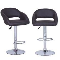 Brown Hydraulic Lift Adjustable Leatherette Barstool Low Cut Out Back Chair, Chrome Finish, Pedestal Base (Set of two)