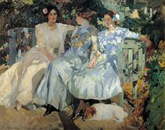 Joaquin Sorolla y Bastida  My Wife and Daughters in the Garden