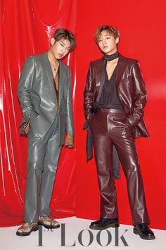 Wanna One's Park Ji Hoon And Park Woo Jin Celebrate Becoming Adults In Manly Pictorial Leather Blazer, Leather Men, Jinyoung, Jaehwan Wanna One, Leather Fashion, Mens Fashion, Ong Seung Woo, Look Magazine, Woo Young