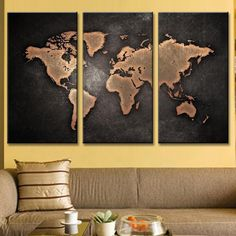 Triptych Black World Map | 4 panel canvases ready to hang wall art canvas prints by panelwallart.com Free Shipping to US Canada Australia