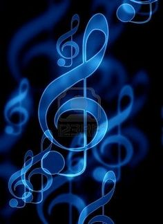 .BLUE treble clefs on black