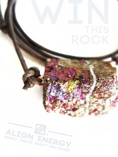 """MYSTIC AURA GIVEAWAY /// Win this Align Energy Chalcopyrite """"Peacock Ore"""" Mystic Aura Pendant™ this weekend at www.facebook.com/AlignEnergy. ***Enter by 9pm EST on Sunday, January 26th, 2014.***"""