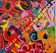 "Colourful Art Original Acrylic Painting on Canvas - 24"" x 24"" - Landlife. $350.00, via Etsy."