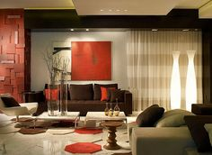 modern living room with orange and brown colors