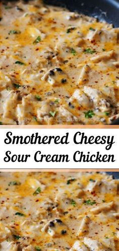Sour Cream Chicken is an easy and delicious weeknight meal. Boneless chicken breasts are smothered in a simple sour cream sauce. Made with made with simple ingredients, you'll have a tasty chicken dinner on the table in no time. for dinner for two Turkey Recipes, Meat Recipes, Cooking Recipes, Salad Recipes, Recipies, Cake Recipes, Dessert Recipes, Healthy Recipes, Mozzarella