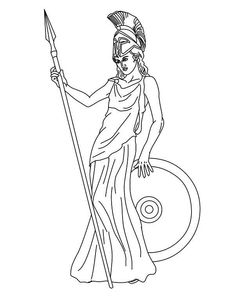 The Goddess Athena of Greek Mythology Coloring Page : The Goddess Athena of Greek Mythology Coloring Page. Greek Mythology,The Goddess Athena Apollo Greek Mythology, Shield Drawing, Roman Latin, Athena Goddess, Greek Gods And Goddesses, Art Reference Poses, Colorful Drawings, Pictures To Draw, Cartoon Drawings