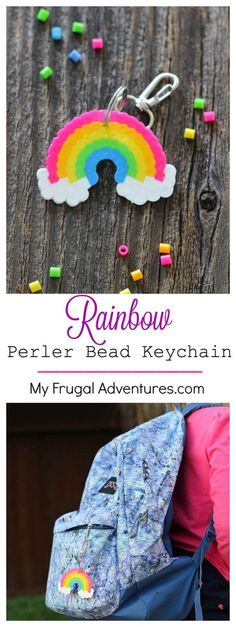 Rainbow Perler Bead Keychain- such a simple and fun craft for kids! - - Rainbow Perler Bead Keychain- such a simple and fun craft for kids! Try this for a Rainbow party or St Patrick& Day. Cute for backpacks, lunchbags or sports bags. Perler Bead Designs, Pearler Bead Patterns, Perler Patterns, Fun Crafts For Kids, Cute Crafts, Bead Crafts, Diy For Kids, Yarn Crafts, Summer Crafts