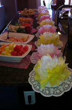 DIY tissue paper flower table runner