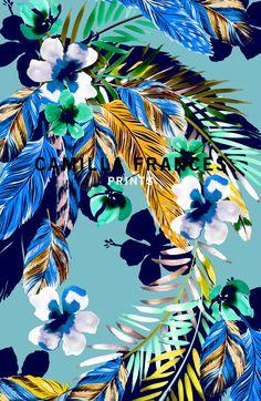 Camilla France #print #design #collage #floral #photoshop #blue #tropical