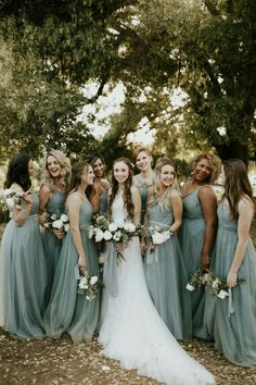 Elegant Dusty Blue Farm Wedding at Terra Madre Gardens Dusty blue bridesmaids dresses Dusty Blue Bridesmaid Dresses, Bridesmaids And Groomsmen, Wedding Bridesmaids, Mint Green Bridesmaids, Bridesmaid Outfit, Bridesmaid Bouquet, Bridal Bouquets, Sage Green Wedding, Wedding Blue