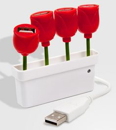 Tulip USB Hub. So decorative yet practical!! I shall hunt for something like this for my new desk at home..or the office also can!