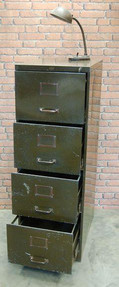 Vintage Filing Cabinet. Filing CabinetsOlive Green