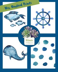 Navy Blue Watercolor Nautical Nursery or Bathroom Prints  Use PIN50 for 50% off your #MetanoiaPrints purchase.  #makingmetanoia #metanoiamindset #nauticalnursery