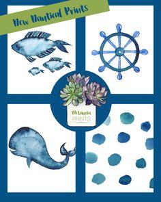 Navy Blue Watercolor Nautical Theme Nursery Wall Art Nautical Bathroom Digital Prints