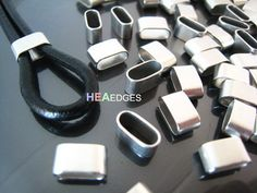 Finding - 6 pcs Silver Flat Head with Round Edge Rectangular Tubes 9mm x 5mm x 4mm ( Inside 8mm x 3mm Hole )