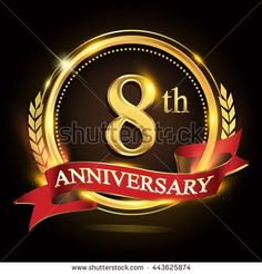 8th golden anniversary logo, 8 years anniversary celebration with ring and red ribbon, Golden anniversary laurel wreath design.