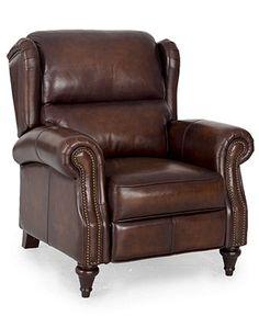 "Brett Leather Recliner Chair, Press Back 37""W x 43""D x 42""H - Chairs - furniture - Macy's"
