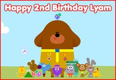 Edible Hey Duggee wafer cake topper birthday party PERSONALIZED rectangle A4