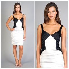 BCBGMAXAZRIA Black & White Cocktail Dress Pristine condition cocktail dress. Only wore it once for a holiday party BCBGMaxAzria Dresses