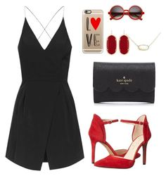 """Black white and red all over!! Happy Valentines Day"" by sadiepatton ❤ liked on Polyvore featuring Jessica Simpson, Kate Spade, Topshop, Casetify, Kendra Scott, women's clothing, women, female, woman and misses"