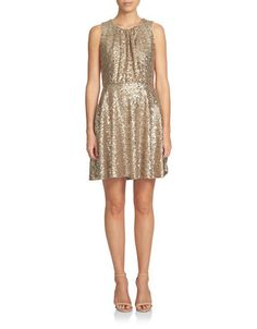 Cece Sequined Fit-and-Flare Dress Women's Gold 2