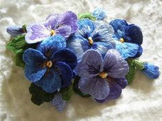 I ❤ stumpwork embroidery . . . Beautiful Lavender & Blue Pansies ~By Valentina Ilkovoy