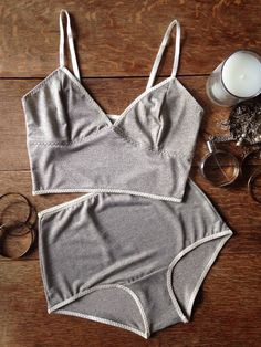 Glitter Marl Lingerie Set. Soft cup bra and high waisted panties. Handmade to order by Nahina
