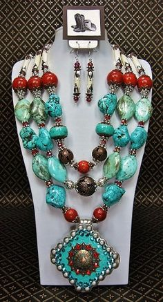 I want this !!! Etsy listing at https://www.etsy.com/listing/178709345/triple-strand-turquoise-coral-buffalo