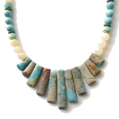 Enjoy the serenity of this Sandy Beach gemstone pendant set necklace. A divine eleven piece sand and ocean impression jasper gemstone pendant set finished with creamy chalcedony, turquoise/picasso Czech crystals, turquoise howlite rounds and lead and nickel free antique bronze plated findings.