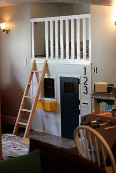 If we ever have a nook that needs filling fe fi fo famma: our indoor playhouse! Inside Playhouse, Kids Indoor Playhouse, Build A Playhouse, Closet Playhouse, Toy Rooms, Kids Rooms, Kid Spaces, Play Houses, Kids Bedroom