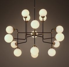 Bistro Globe Milk Glass 16-Light Chandelier