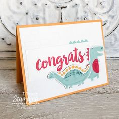Adorable Congrats Card for Kids Kids Birthday Cards, And Just Like That, Coordinating Colors, Card Kit, Kids Cards, Greeting Cards Handmade, Pattern Paper, Stamping, Congratulations