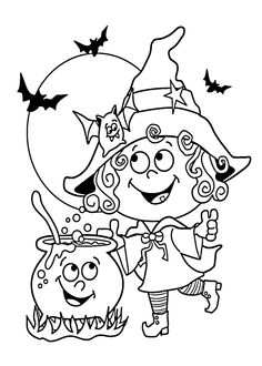 Halloween Little funny witch coloring page for kids, printable free - Halloween for kids
