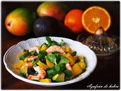 Ensalada de mango, aguacate y langostinos