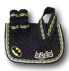 Mini/Pony size Batman Tastefully Tack-E Ready to Ship Customized Saddle Pad Set. Black All Purpose Saddle Pad with  polo wraps, and girth