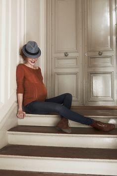Mode et grossesse /  Fashion and Pregancy :  Émoi Émoi  - Pull FRAGILE Jean LOVE2WAIT