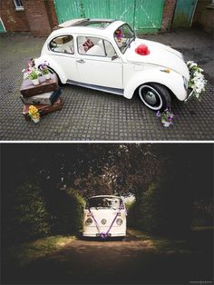 London-dwelling couples will adore Buttercup Bus VW Campers and Beetles – they have six campers available in pretty pastel shades, or a soft top Beetle in cream. They also hire out camper van photo booths, which is a great option if you're looking for way Wedding Car Decorations, Wedding Cars, Vw Camper, Campers, Photo Booth Business, Wedding Transportation, Beetle Car, Vw Beetles, Pretty Pastel