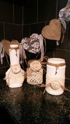 Painted lace bottle & jars vintage shabby wedding