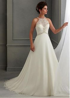 Charming Chiffon Satin High Collar Neckline Inverted Basque Waistline A-line Wedding Dress With Embroidered Beadings