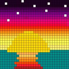 Sunset_ocean by Rocketfartpanda on Kandi Patterns Melty Bead Patterns, Kandi Patterns, Perler Patterns, Beading Patterns, Graph Paper Drawings, Graph Paper Art, Diy Perler Beads, Perler Bead Art, Beaded Cross Stitch