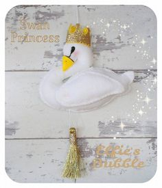 white plush felt swan princess wall hanging mobile by ElfiesBubble