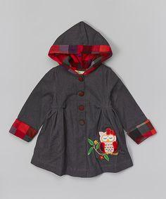 Love this Denim Plaid Owl Hooded Swing Jacket - Toddler & Girls on #zulily! #zulilyfinds