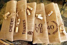 burlap wine bags diy - and the cork tassels - cute