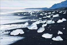 Black sand frozen beach in Iceland