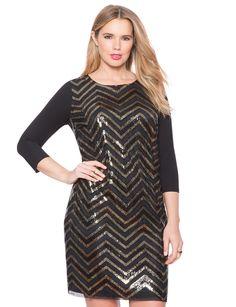 Studio Sequin Tee Shirt Dress | Women's Plus Size Dresses | ELOQUII