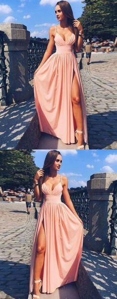 Pink Spaghetti Strap V Neck Prom Dress,Simple Long Evening Dress M0300#prom #promdress #promdresses #longpromdress #promgowns #promgown #2018style #newfashion #newstyles #2018newprom#eveninggowns#pinkpromdress#spaghettistraps#simpledress