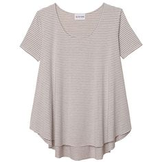Olive + Oak Nicolette Stripe Tee (385422701) ($42) ❤ liked on Polyvore featuring tops, t-shirts, shirts, sweaters, scoop neck t shirt, stripe t shirt, striped short sleeve shirt, short sleeve scoop neck tee and t shirt